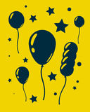 Feierballone und -sterne Auf gelbem Hintergrund Stockfotos
