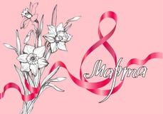 Feiergrußkarte am 8. März in der russischen Übersetzung mit Blumenstrauß stockfotografie