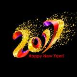 Feierhintergrund 2017 des neuen Jahres mit Konfettis Stockfoto