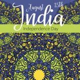 Feierhintergrund für indischen Unabhängigkeitstag mit Text am 15. August, bunten Flecken und Platz für Ihren Text Stockbild