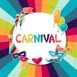 Feierhintergrund mit Karnevalsaufklebern und Stockfotos