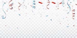 Feierhintergrundschablone mit Konfettis und den roten und blauen B?ndern E lizenzfreies stockfoto