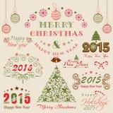 Feierkonzept der frohen Weihnachten und des guten Rutsch ins Neue Jahr Lizenzfreies Stockbild