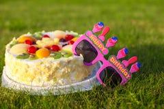 Feierlicher Kuchen und Gläser, der ein glückliches sagt Stockbilder
