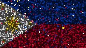 Feierlicher lebhafter Hintergrund der Flagge von Philippinen erscheinen von den Feuerwerken stock footage