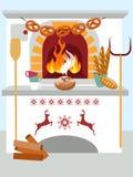 Feierliches inländisches kochendes Brot im Ofen Unbedeutende im Art Karikatur-flachen Vektor vektor abbildung