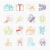 Feierlinie Ikonen mit Getränken, Girlande und Feuerwerken stock abbildung