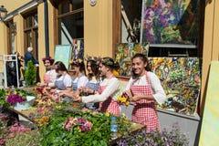 Feiern auf Agmashenebeli-Allee in Tiflis georgia Stockfotografie