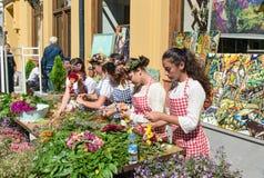Feiern auf Agmashenebeli-Allee in Tiflis georgia Lizenzfreies Stockfoto