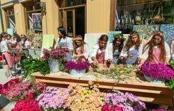 Feiern auf Agmashenebeli-Allee in Tiflis georgia Lizenzfreies Stockbild