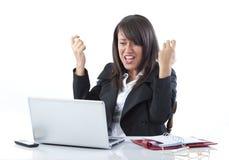 Feiern der Geschäftsfrau Stockfoto