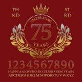 Feiern der Jahrestagszeichenausrüstung Goldene Zahlen, Alphabet, Rahmen und einige Wörter für das Herstellen von Feieremblemen lizenzfreie abbildung