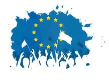 Feiern der Menge mit Flagge der Europäischen Gemeinschaft Stockbild