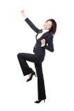 Feiern der zujubelnden Geschäftsfrau in in voller Länge Stockfotos