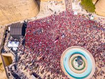 Feiern des Arbeitstages in Valletta, Malta stockbild