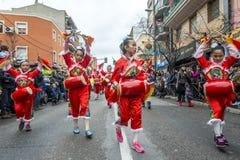Feiern des Chinesischen Neujahrsfests in Usera Madrid, Spanien Stockbilder