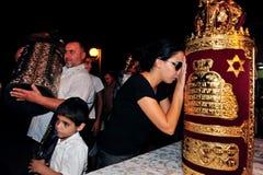 Feiern des jüdischen Feiertags Simchat Torah Stockbilder