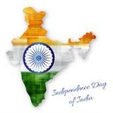 Feiern des Unabhängigkeitstags von Indien Karte von Indien in den Zustandsflaggenfarben Stockbilder