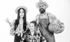 Feiern die rustikalen Artlandwirte der Familie, die auf Fallernteeltern und -tochter stolz sind, Erntefeiertagskürbis ernte stockfotos