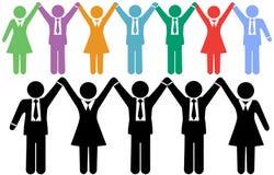 Feiern Geschäftsleute die Symbole, die Hände anhalten Stockfoto