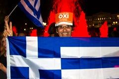 Feiern in Griechenland nach den Referendumergebnissen Lizenzfreie Stockfotografie