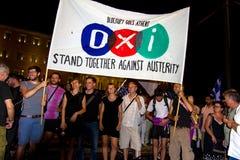 Feiern in Griechenland nach den Referendumergebnissen Stockbild