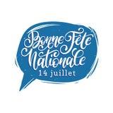 Feiern Sie Nationale Francaise, Handbeschriftung in der Spracheblase Phrase übersetzt zum englisch-französischen Nationaltag Stockbilder