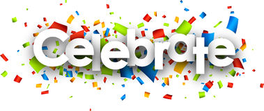 Feiern Sie Papierfahne lizenzfreie abbildung