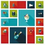 Feierpartei flaches ui mit langem Schatten, eps10 Lizenzfreie Stockfotografie