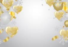 Feierparteifahne mit Ballonhintergrund Verkaufs-Vektorillustration Verkauf, Jahrestag und Verein-Entwurf stock abbildung