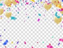 Feierparteifahne mit Ballonhintergrund Verkaufs-Vektorillustration Verkauf, Jahrestag und Verein-Entwurf lizenzfreie abbildung