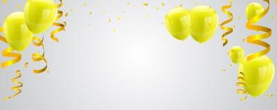 Feierparteifahne mit gelben Ballonen auf weißem Hintergrund stockfotos