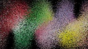 Feierrotation des Chaoshintergrundes Farbige abstrakte geometrische Beschaffenheit Streuung von Quadraten auf Schwarzem Dynamisch stock abbildung