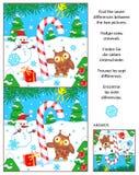 Feiertag finden das Unterschiedbildpuzzlespiel mit Zuckerstange Stockbilder