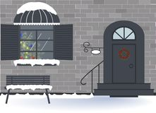 Feiertag: Frohe Weihnachten, neues Jahr und Weihnachtsfeier Außenhaustür und Fensterdekoration für die Weihnachtsfeiertage vektor abbildung
