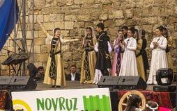 Feiertag Novruz Bayram in der Hauptstadt der Republik von Aserbaidschan in der Stadt von Baku 22. März 2017 lizenzfreies stockbild