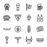Feiertag Oktoberfest und Bier-Ikonen Lizenzfreies Stockbild