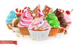 feiertag Süßer Nachtisch Kuchen, kleiner Kuchen Vektor 3d vektor abbildung