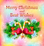 Feiertag ` s Weihnachtskarte mit Florenelementen, Weihnachtsbaum und Weihnachtssüßigkeit Stockbild