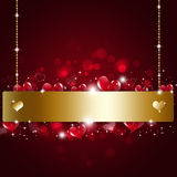 Feiertag Valentine Golden Notice Background Lizenzfreies Stockbild