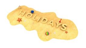 Feiertage - das Wort des Sandes Stockfotografie