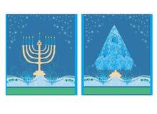 Feiertage! Karten mit Weihnachtsbaum und Channuka-Kerzen Stockbild