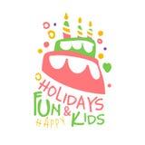 Feiertage Spaß und Kindpromozeichen Gezeichnete Illustration Vektor der Kinderparty bunte Hand Lizenzfreie Stockfotos