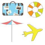 Feiertage und Reise Klippkunst Set getrennt auf Weiß Lizenzfreies Stockfoto