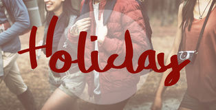 Feiertags-Ferien-Abenteuerreisen-Wort-Konzept stockbilder