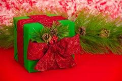 Feiertags-Geschenk mit Kiefer-Kegeln Lizenzfreie Stockbilder