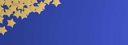 Feiertags-Hintergrund mit Kopienraum 3D, das goldene Sterne auf blauem Hintergrund überträgt stockfotos