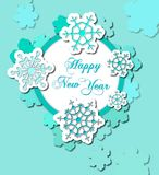 Feiertags-Karteweihnachtsgrußkarte auf hölzernem Hintergrund Stockfotografie