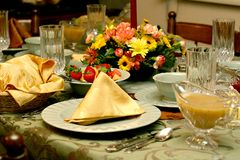 Feiertags-Mahlzeit-Tabellen-Einstellung Stockbilder