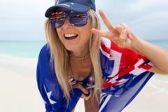 Feiertags-Schwingungen, glücklicher Australien-Tag, Aussie Fan Supporter lizenzfreie stockfotos